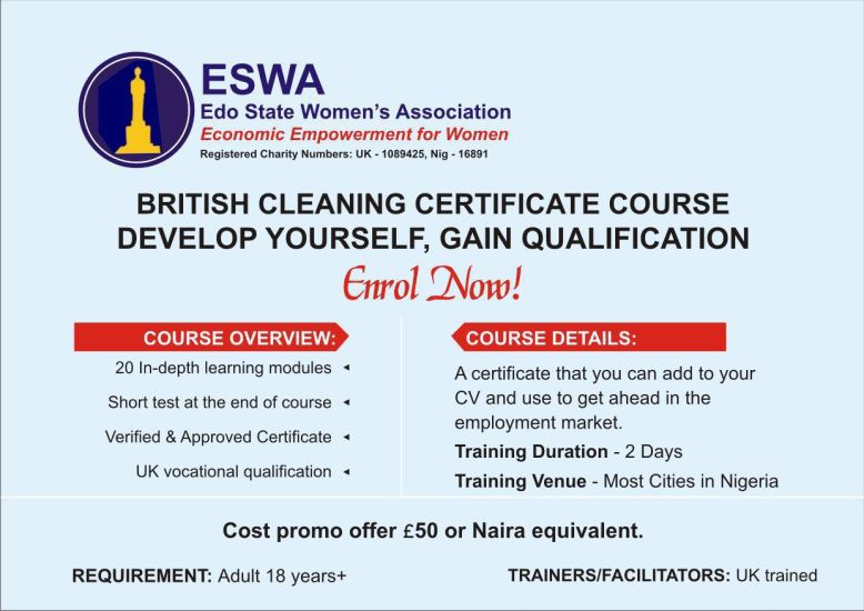 ESWA Cleaning course flyer