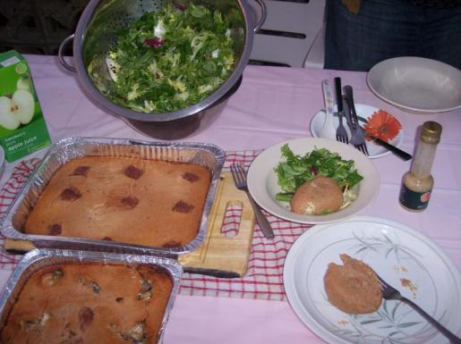 Baked moi-moi with fresh salad